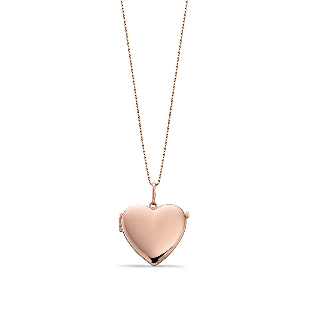 Plain Gold Personalise Heart Locket Necklace Pendant (8mm X 21mm)