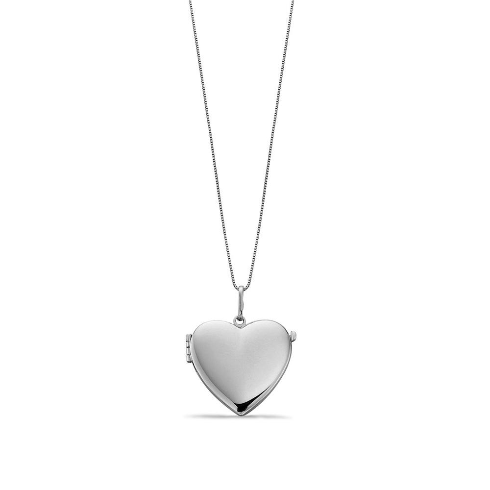 WHITE GOLD PLAIN GOLD PERSONALISE HEART LOCKET NECKLACE PENDANT