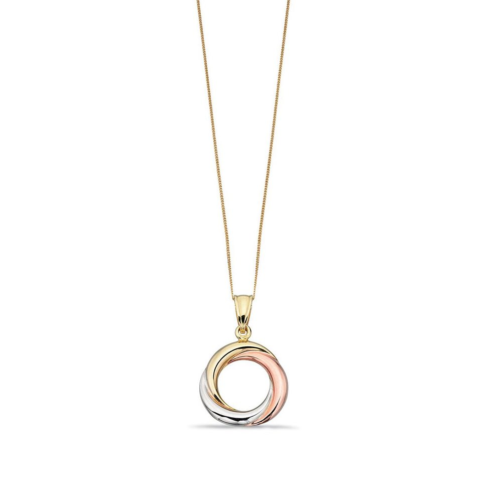 WHITE GOLD PLAIN TRIPLE GOLD RUSSIAN RING STYLE PENDANT NECKLACE