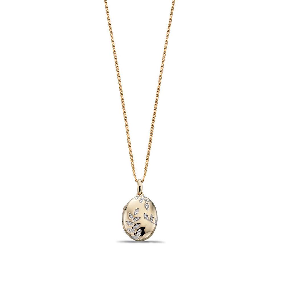Oval Locket with Diamond Leaf Pattern Diamond Locket Necklace Pendant (22mm X 12.5mm)