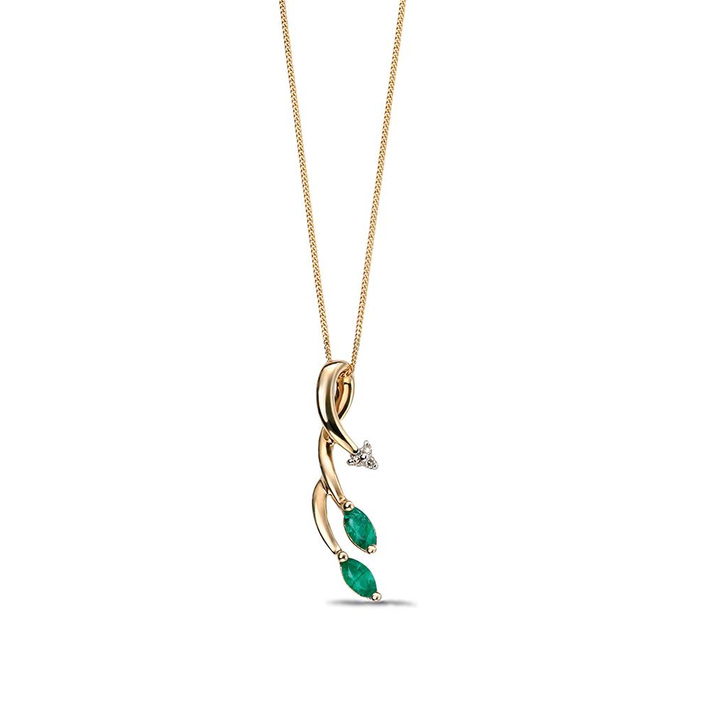 Emerald Gemstone and Diamond Set Vine Pendant (24mm X 6mm)