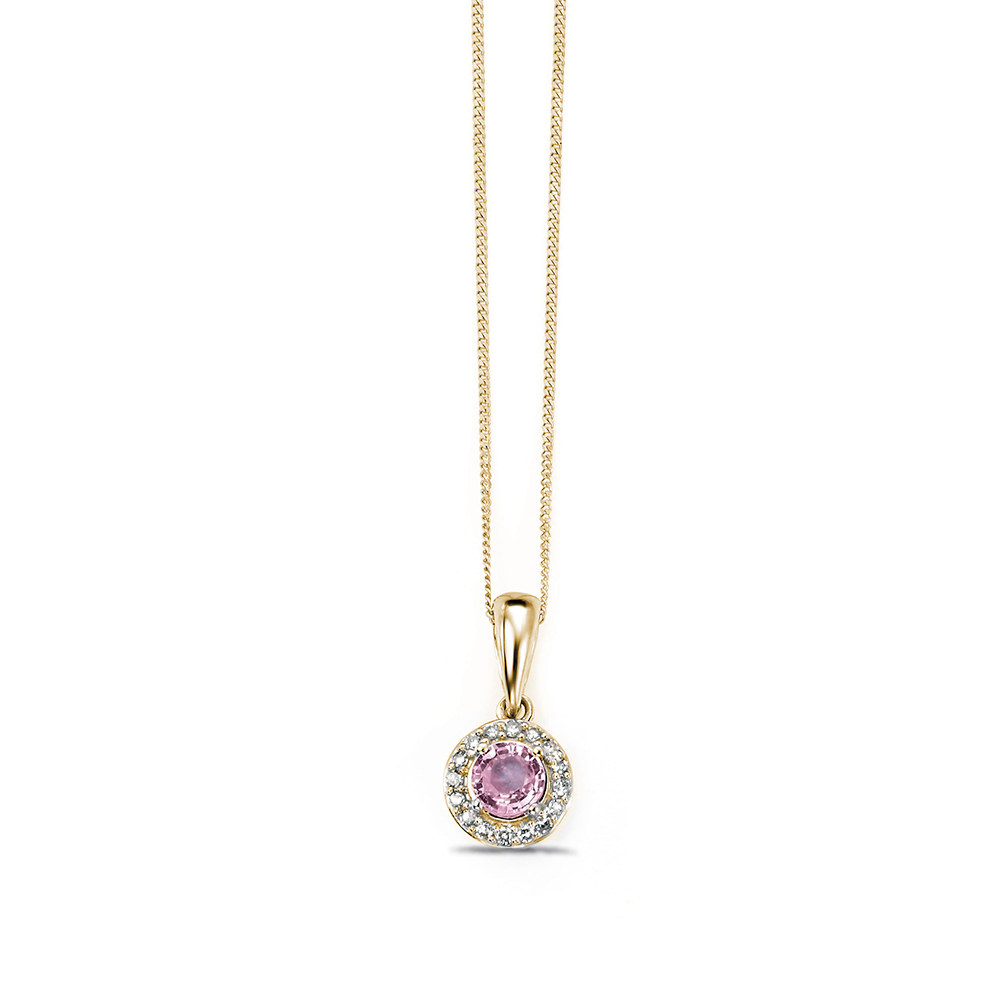 Pink Sapphire and Diamond Cluster Halo Diamond Pendants (13mm X 6.5mm)
