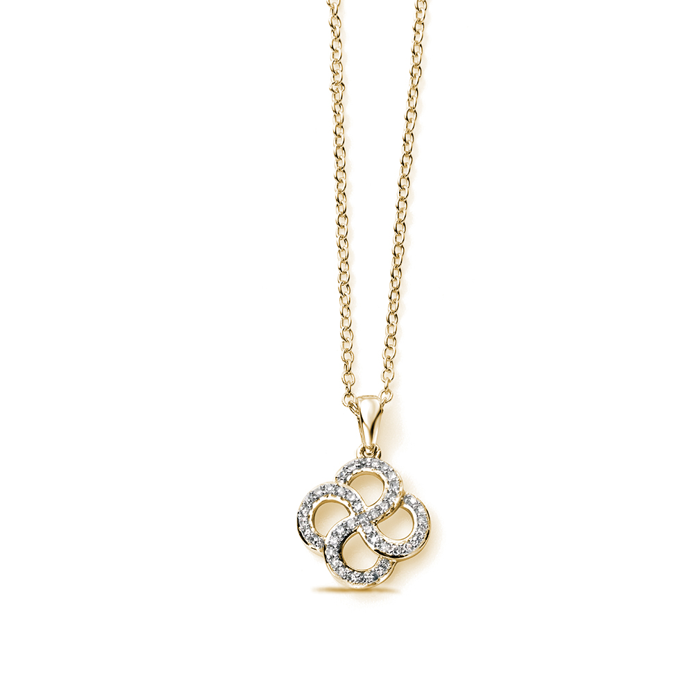 Organic Swirl Diamond Pendant Necklace in Gold and Platinum (16.5mm X 11mm)