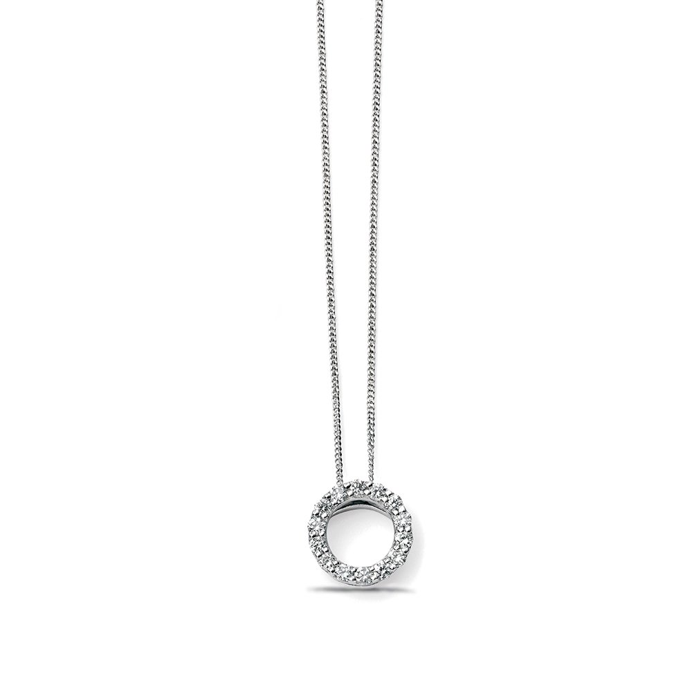 Beautiful Open Circle Diamond Necklace Pendant (8,5mm)