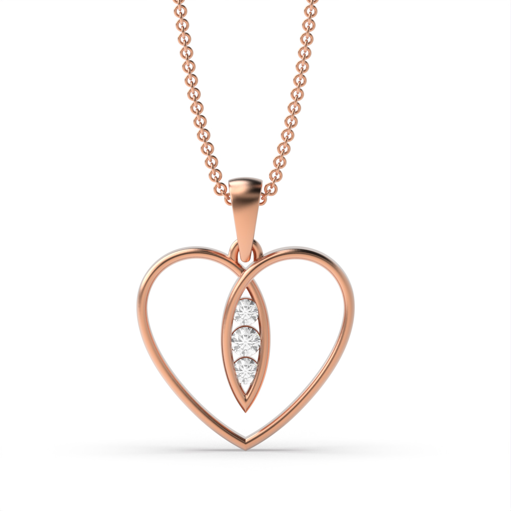 Elegant Open Heart Three Diamond Pendant  (12.5mm X 12mm)