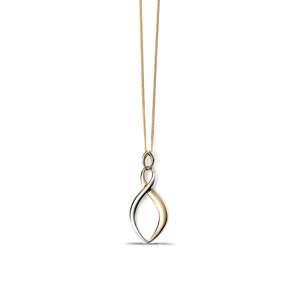Plain Yellow and White Gold Twist Drop Pendant Necklace (33mm X 13mm)