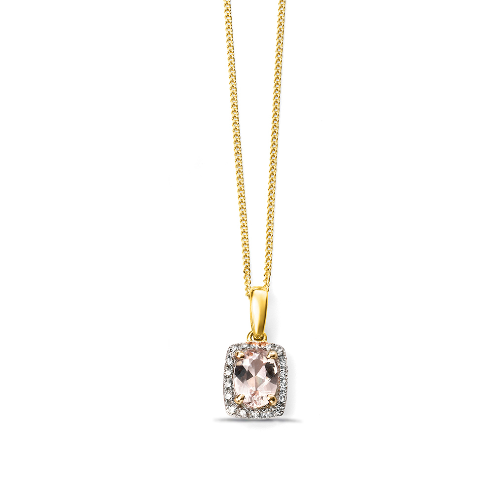 White Yellow or Rose gold Diamond and Morganite Pendant (16 mm X 7mm)