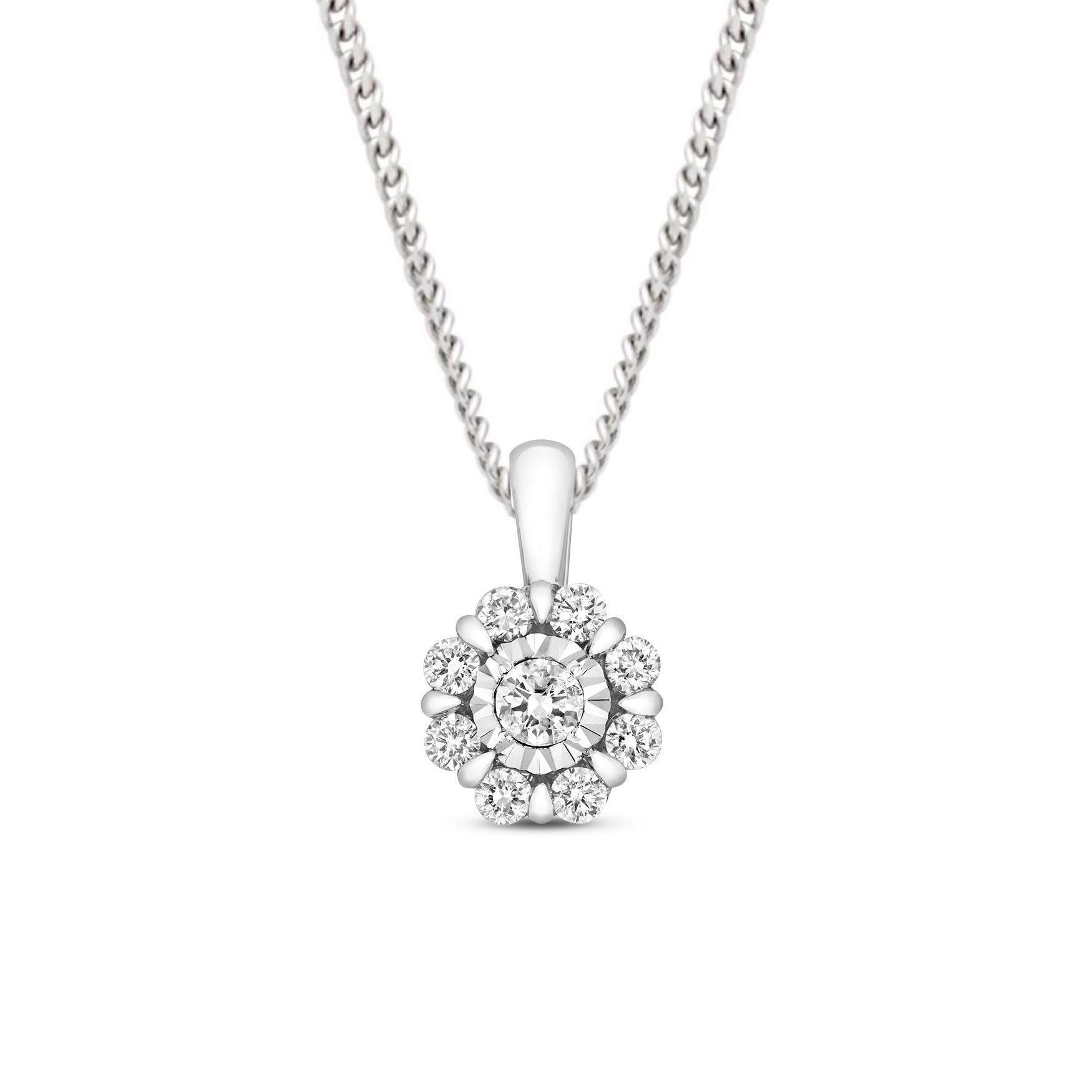 0.33 Carat Cluster Solitaire Diamond Pendant Necklace for Women