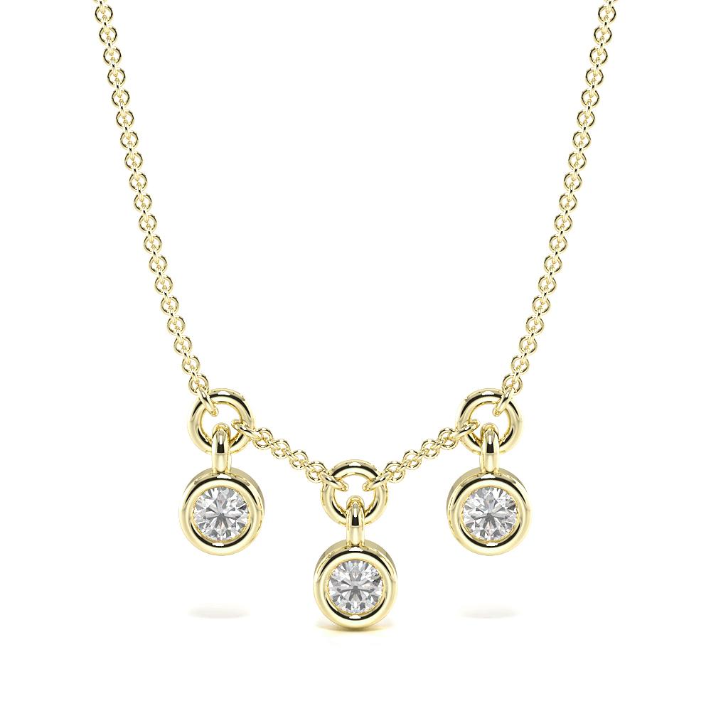 Bezel Setting Round 3 Diamond Dangling Diamond Designer Pendant(5.6mm X 2.8mm)