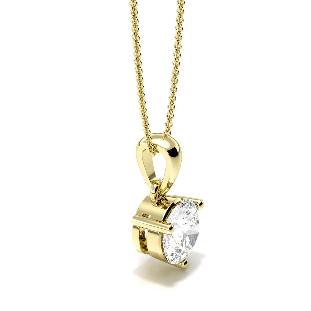 3 Prong Round Diamond Solitaire Pendant In Gold & Platinum