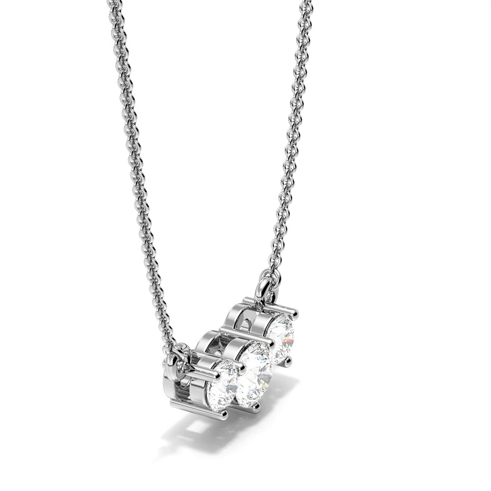 4 Prong Round Diamond Trilogy Diamond Necklace(3.7mm X 8.8mm)