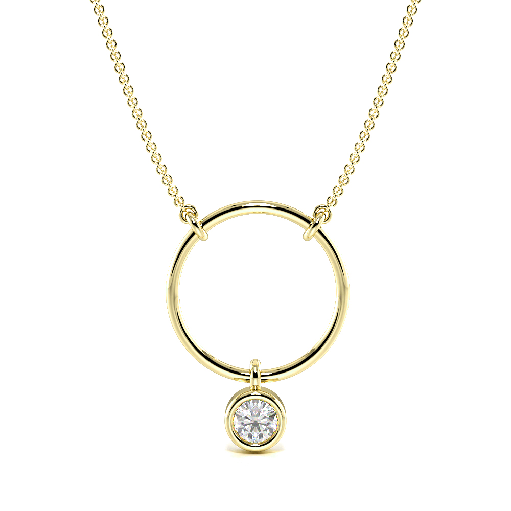 Bezel Setting Round  Diamond Circle Pendant Necklace(14.2mm X 10.5mm)