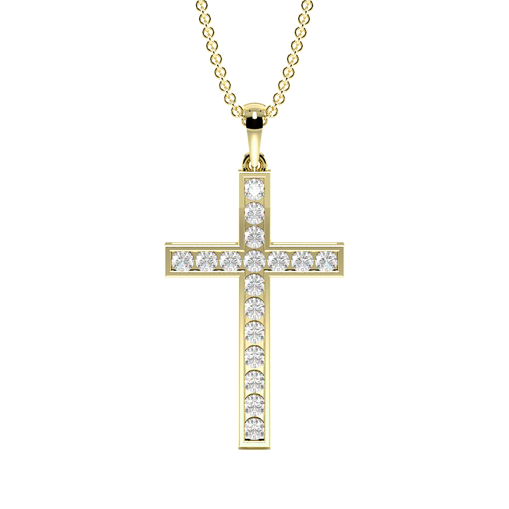 Channel Setting Round  Diamond Platinum & Gold Cross Necklace(24.3mm X 12.7mm)