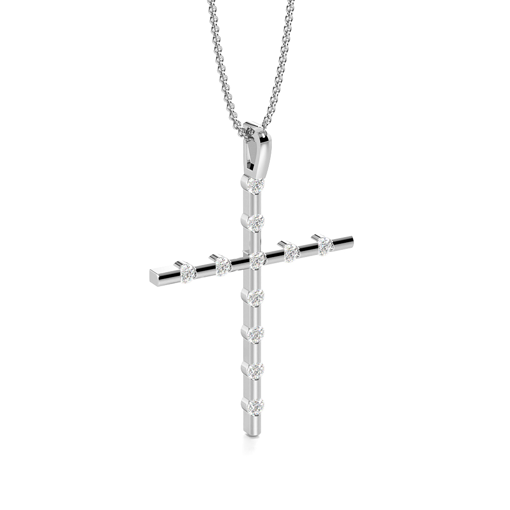 Flush Setting Round Delicate Diamond Cross Necklace For Women(28.5mm X 19.2mm)