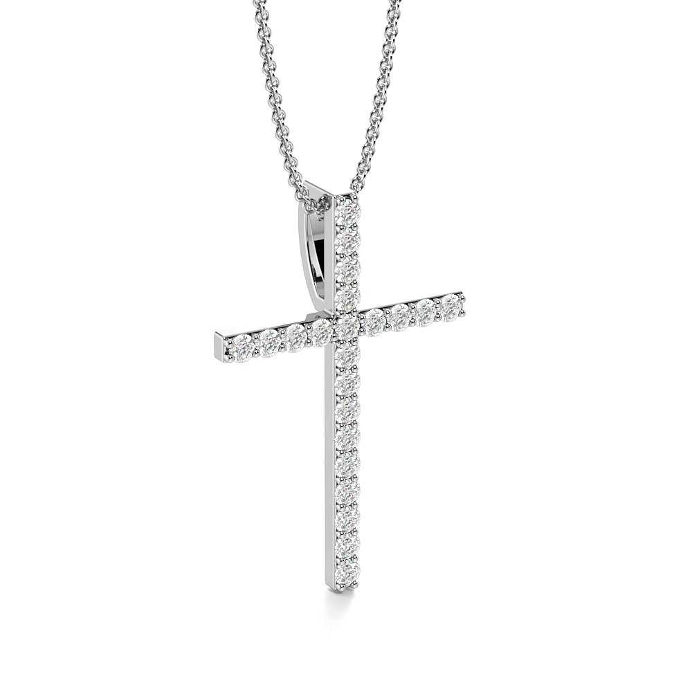 4 Prong Round Classis Popular Diamond Cross Necklace(21.8mm X 14.2mm)