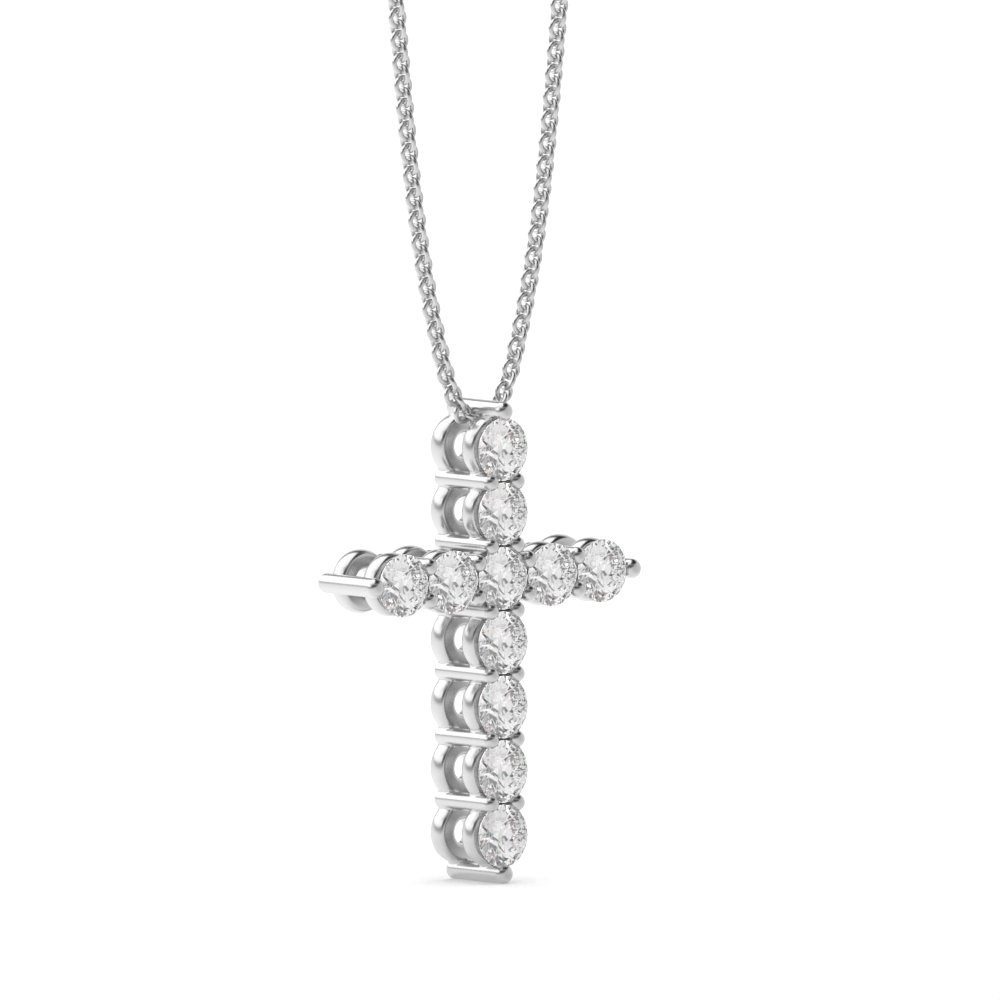 4 Prong Round Classis Popular Diamond Cross Pendant(14.8mm X 10.8mm)