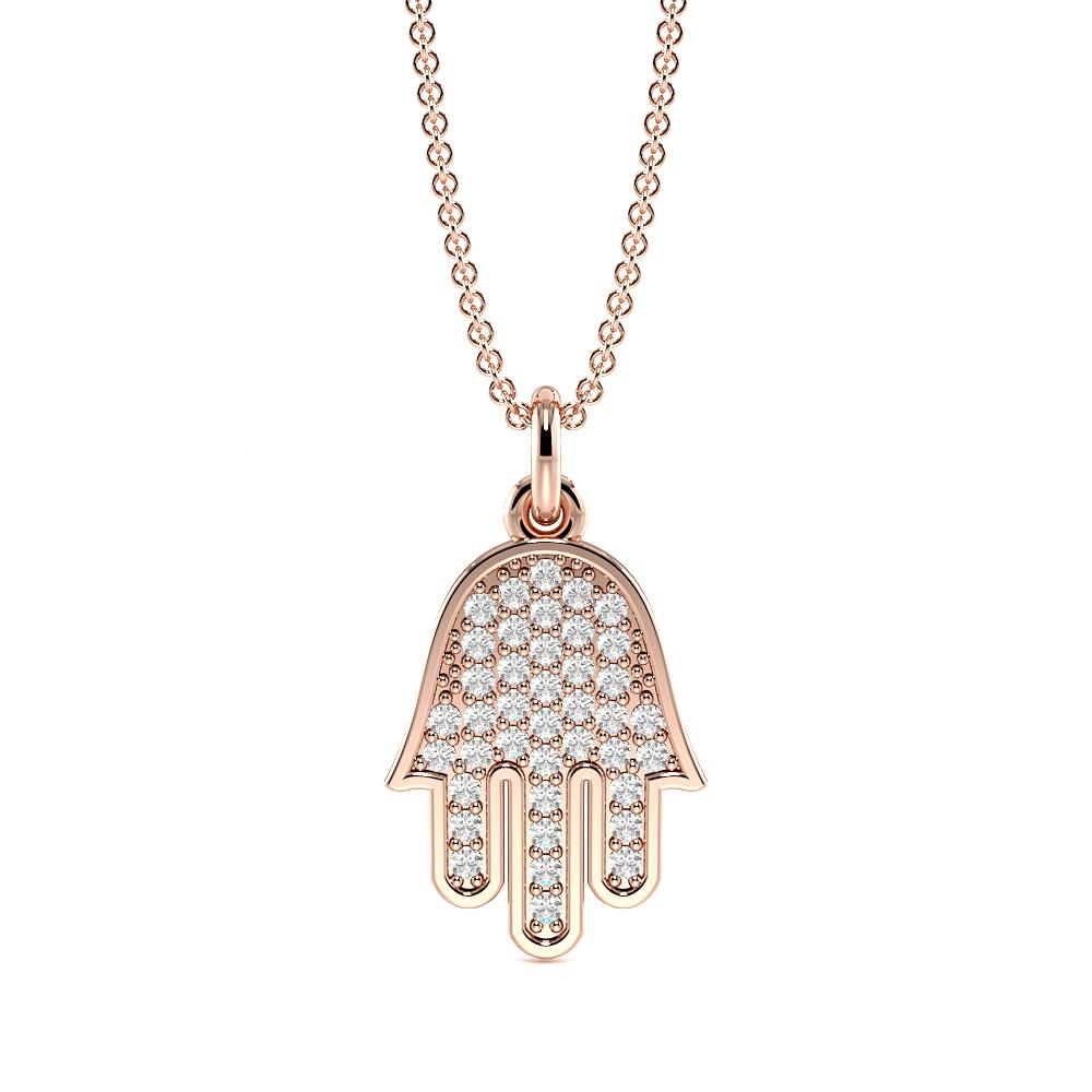 Pave Setting Round Hamsa Style Diamond Cluster Necklace(13.0mm X 8.5mm)