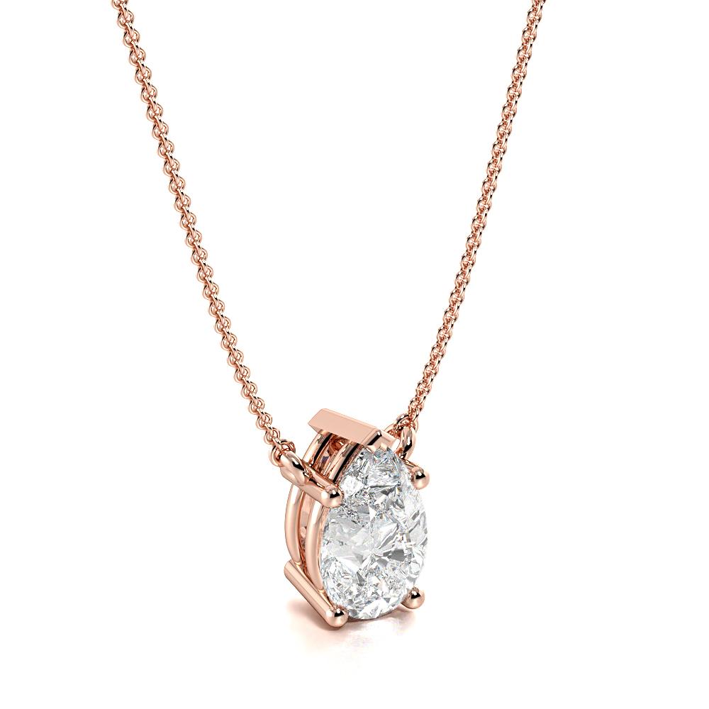 4 Prong Pear Shape Tear Drop Diamond Solitaire Pendant