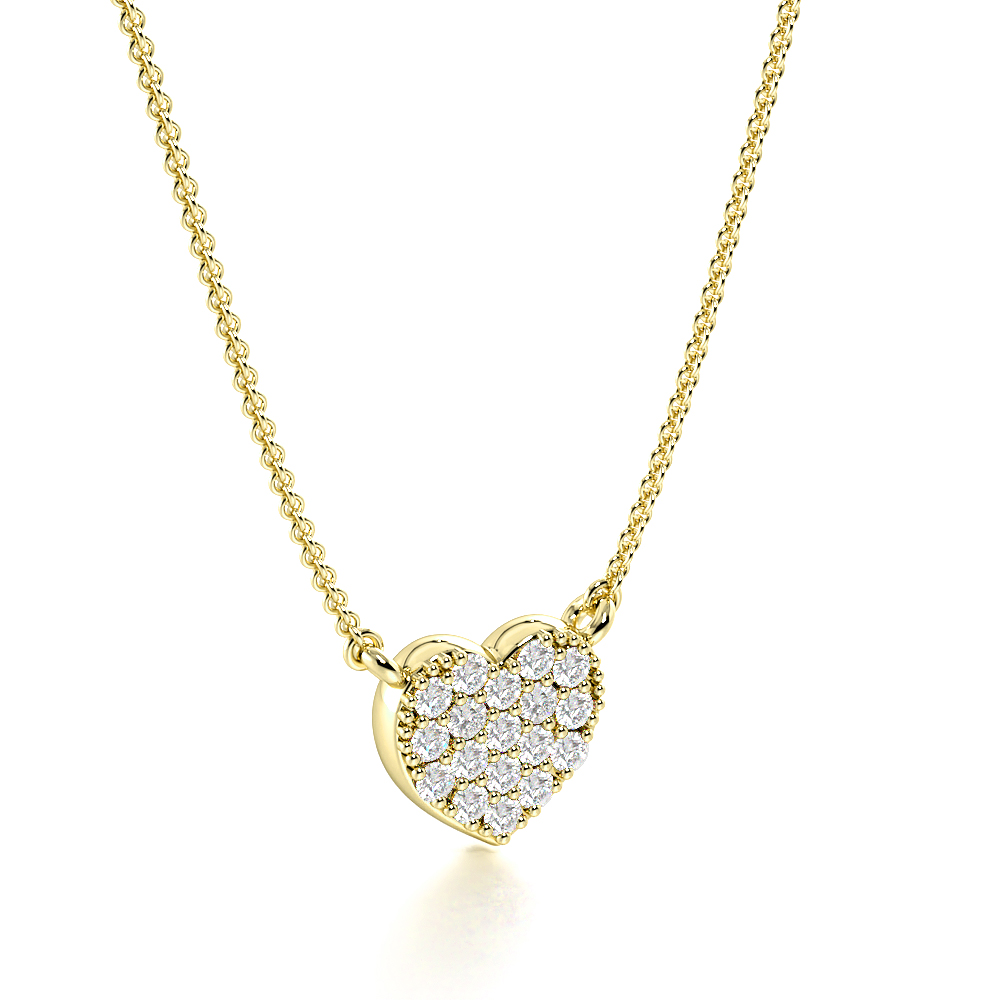 Pave Setting Round Tiny Solid Heart Necklace Diamond Heart Pendants(5.8mm X 6.0mm)