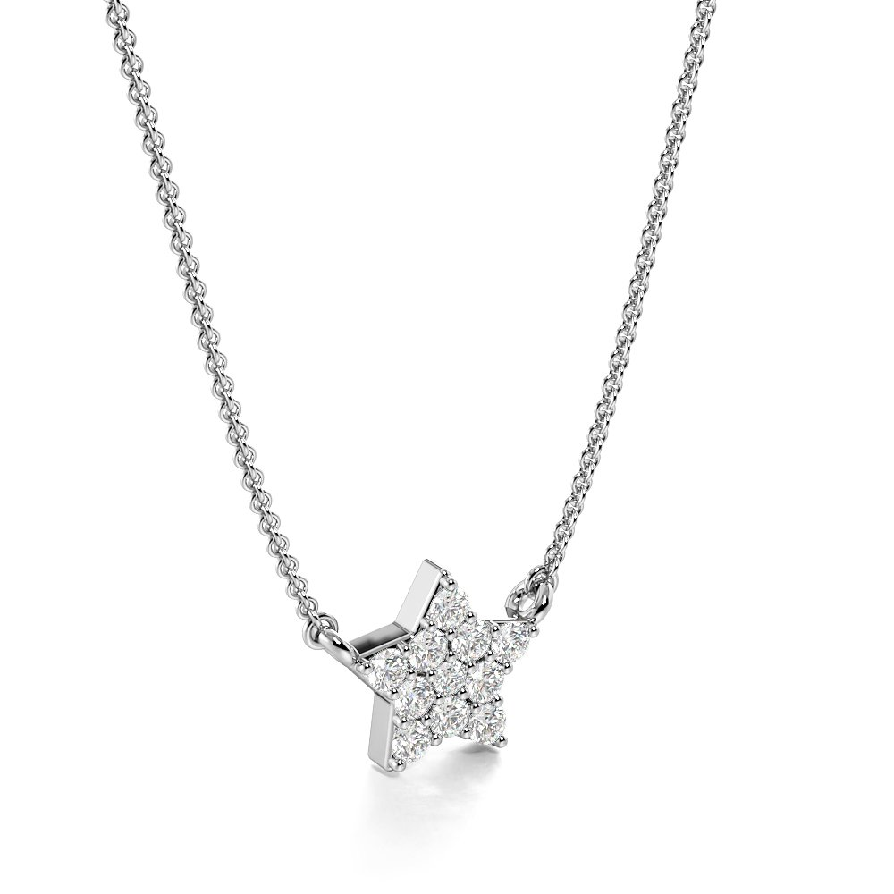 Pave Setting Round Tiny Start Necklace Diamond Cluster Necklace(5.5mm X 7.4mm)