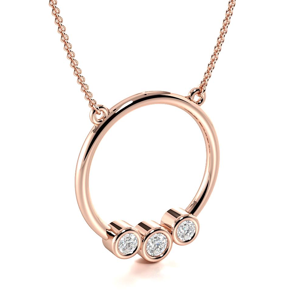 Bezel Setting Round Trilogy Diamond Platinum & Gold Circle Necklace(17.0mm X 15.8mm)
