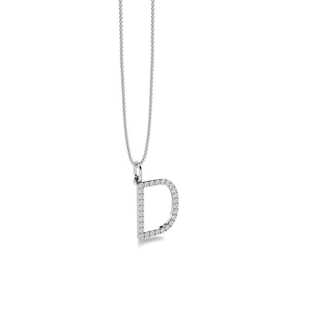 Letter 'D' Diamond Initial Pendant Necklaces in White, Yellow And Rose Gold(17mm X 12mm )