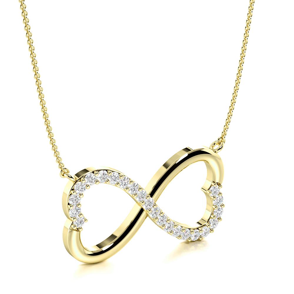 4 Prong Round Infinity Style Diamond Designer Pendant(10.0mm X 18.4mm)