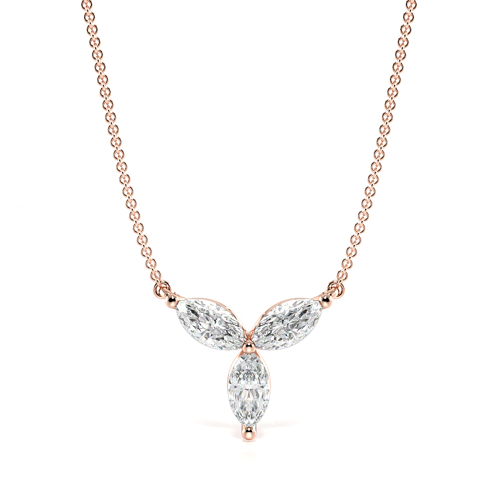4 Prong Marquise Flower Style Diamond Cluster Necklace(7.0mm X 7.9mm)