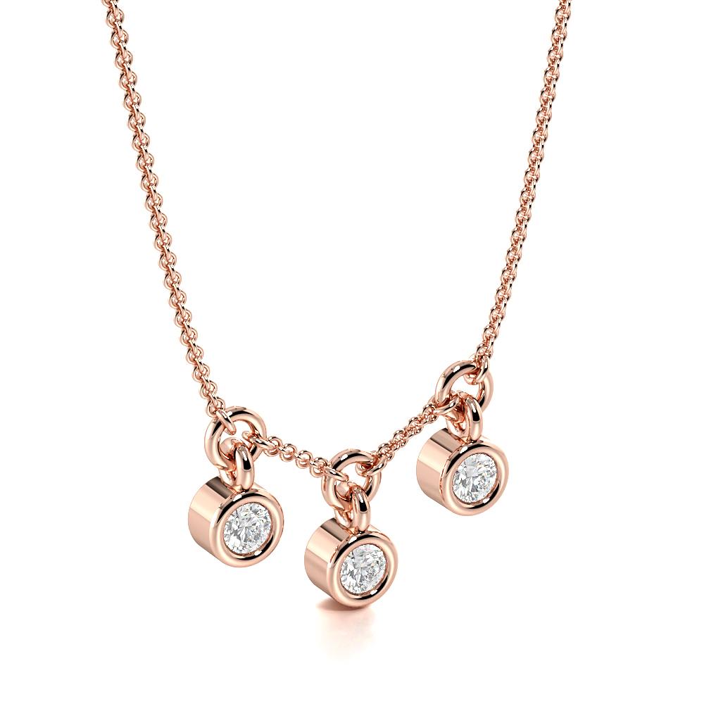 Bezel Setting Three diamond Dangling Womens Designer Necklace (5.60mm X 2.80mm)