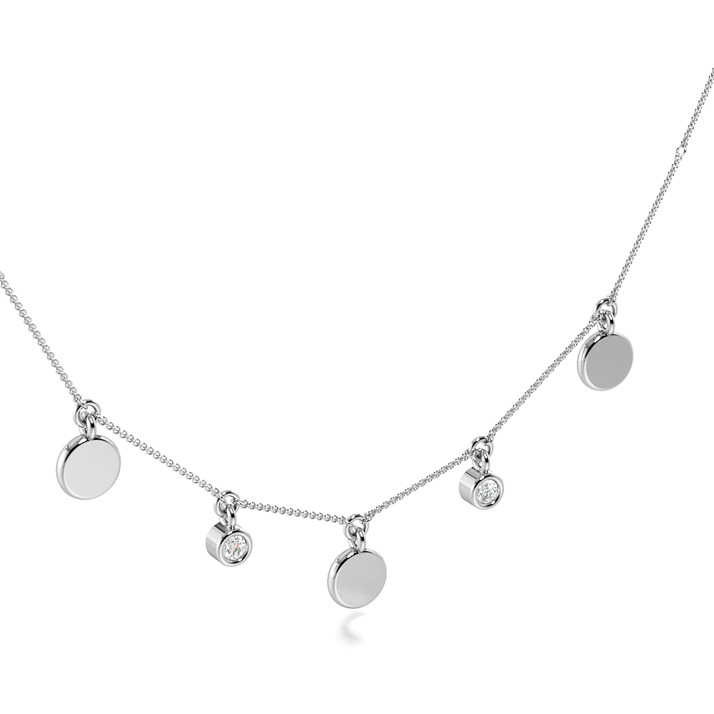 Bezel Setting Round Charm Necklace Diamond Necklace