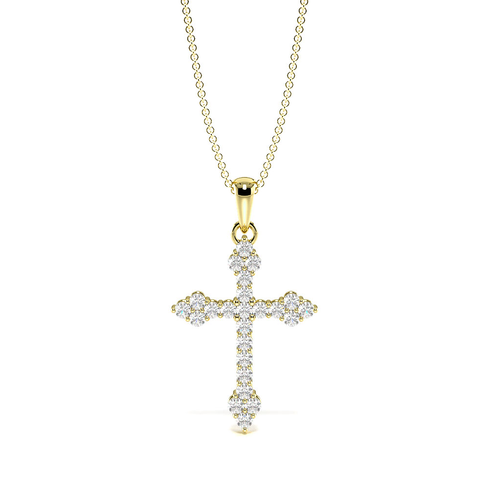 4 Prongs Round Shape Cluster diamond Cross Necklace for Women  (19.20mm X 13.30mm)