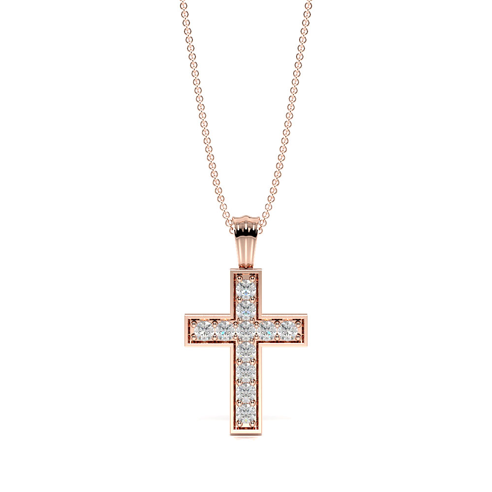 Pave Setting Round Diamond Classic and Popular Cross Pendant Necklace  (19.70mm X 11.00mm)