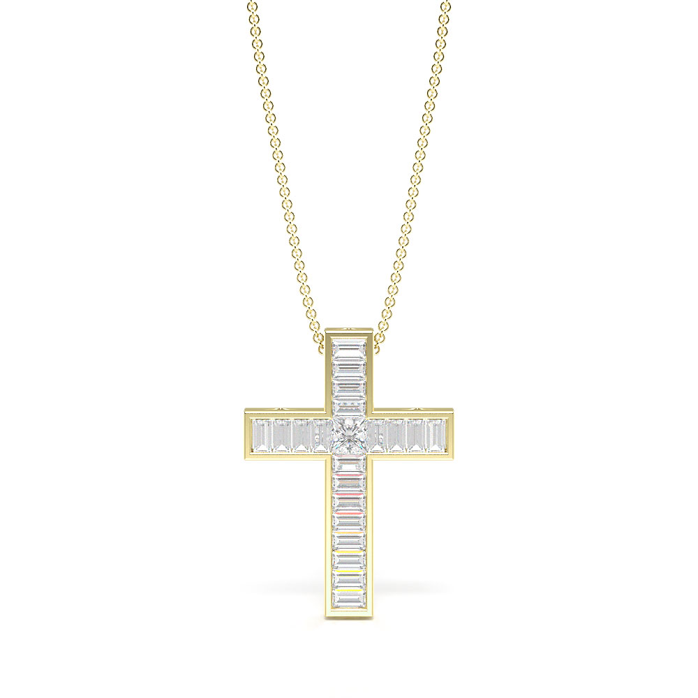 Channel Setting Baguette Diamond Exclusive and Luxurious Cross Necklace  (16.40mm X 12.00mm)