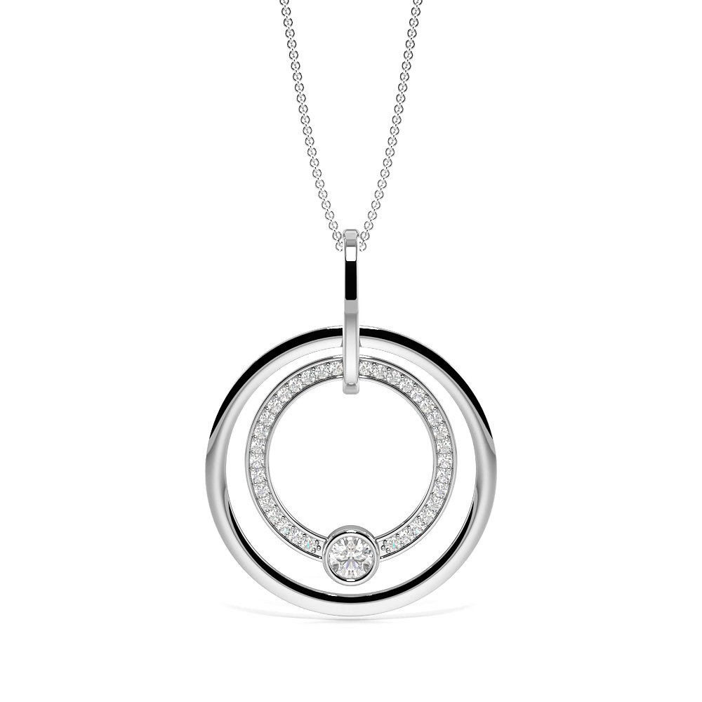 Pave Setting Round Diamond Luxurious Circle Pendant Necklace  (40.00mm X 30.00mm)