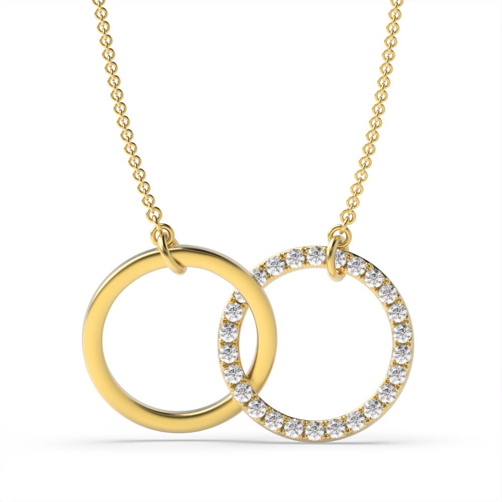 Pave Setting Round Diamond Interlocking Circle Pendant Necklace  (12.60mm X 20.0mm)