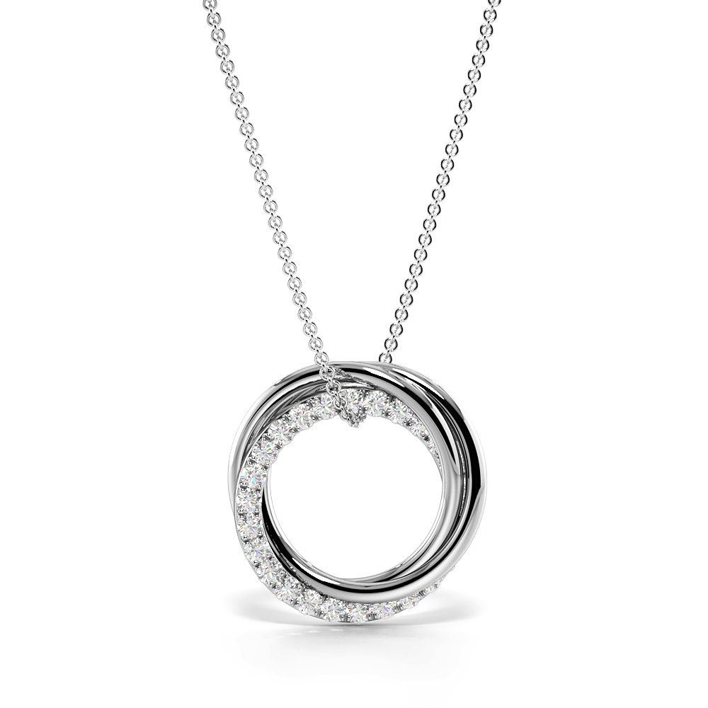 Pave Setting Round Diamond Three Rings Circle Pendant Necklace  (13.20mm X 12.80mm)