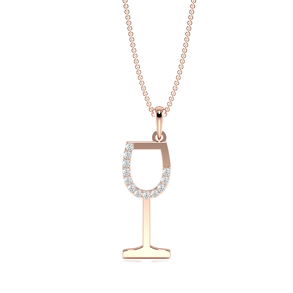 Pave Setting Round Diamond Wine Glass Diamond Womens Designer Necklace  (19.50mm X 7.30mm)