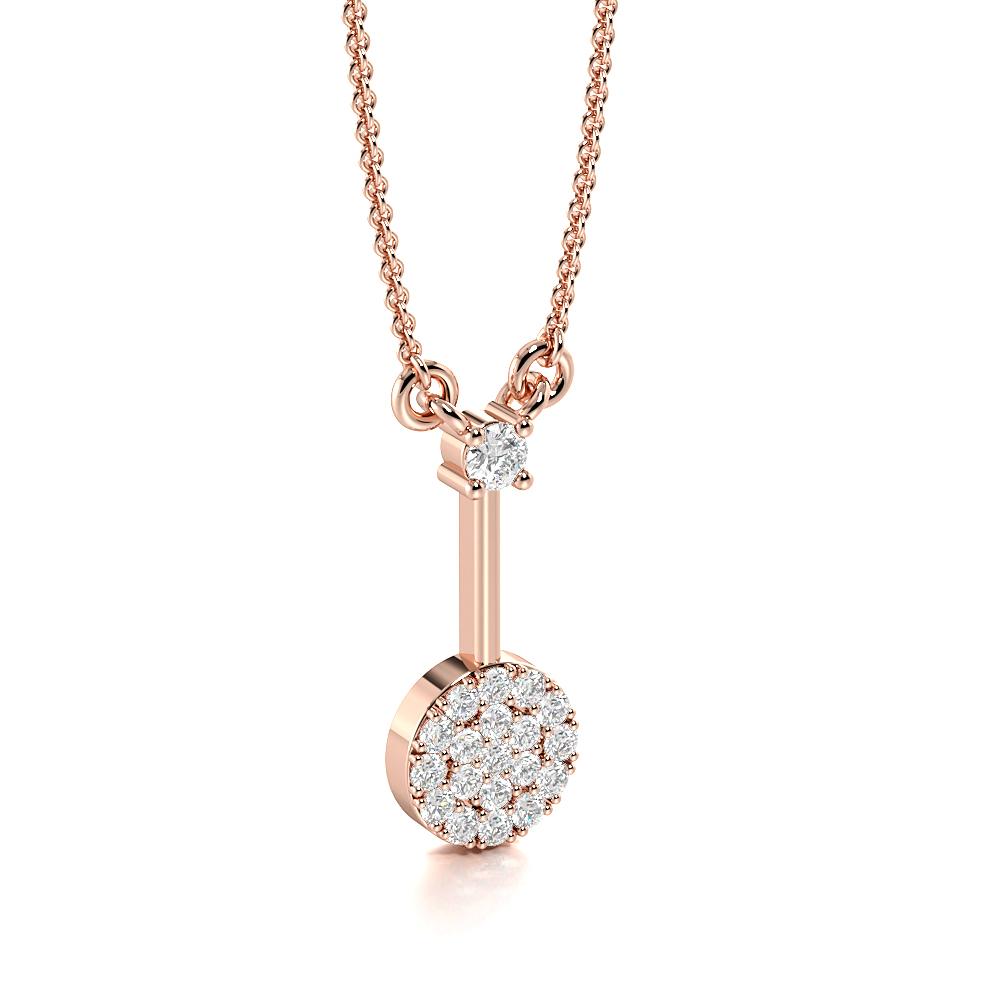 Pave Setting Round Diamond Cluster Diamond Disc Circle Pendant Necklace  (14.50mm X 5.50mm)
