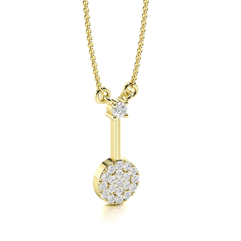 Pave Setting Round Diamond Cluster Diamond Disc Circle Pendant Necklace  (14.50mm X 5.50mm)