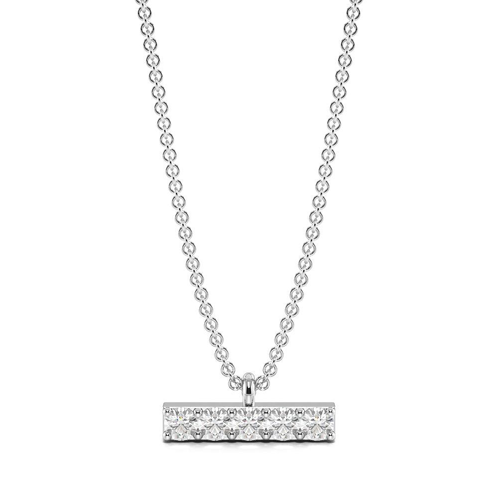 Pave Setting Round Diamond & Gold Bar Womens Designer Necklace  (3.00mm X 8.20mm)