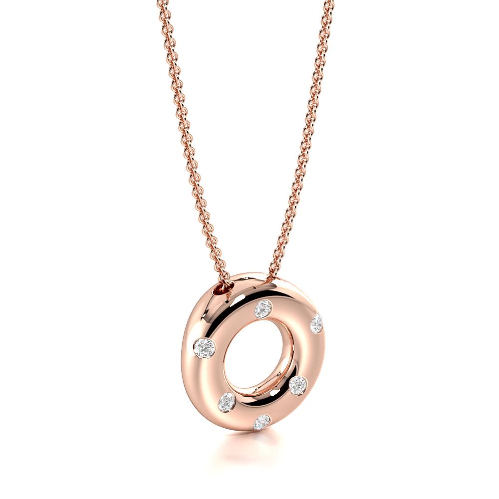 Flush Setting Round Diamond Floating Circle Diamond Pendant Neckalce (9.30mm X 9.00mm)