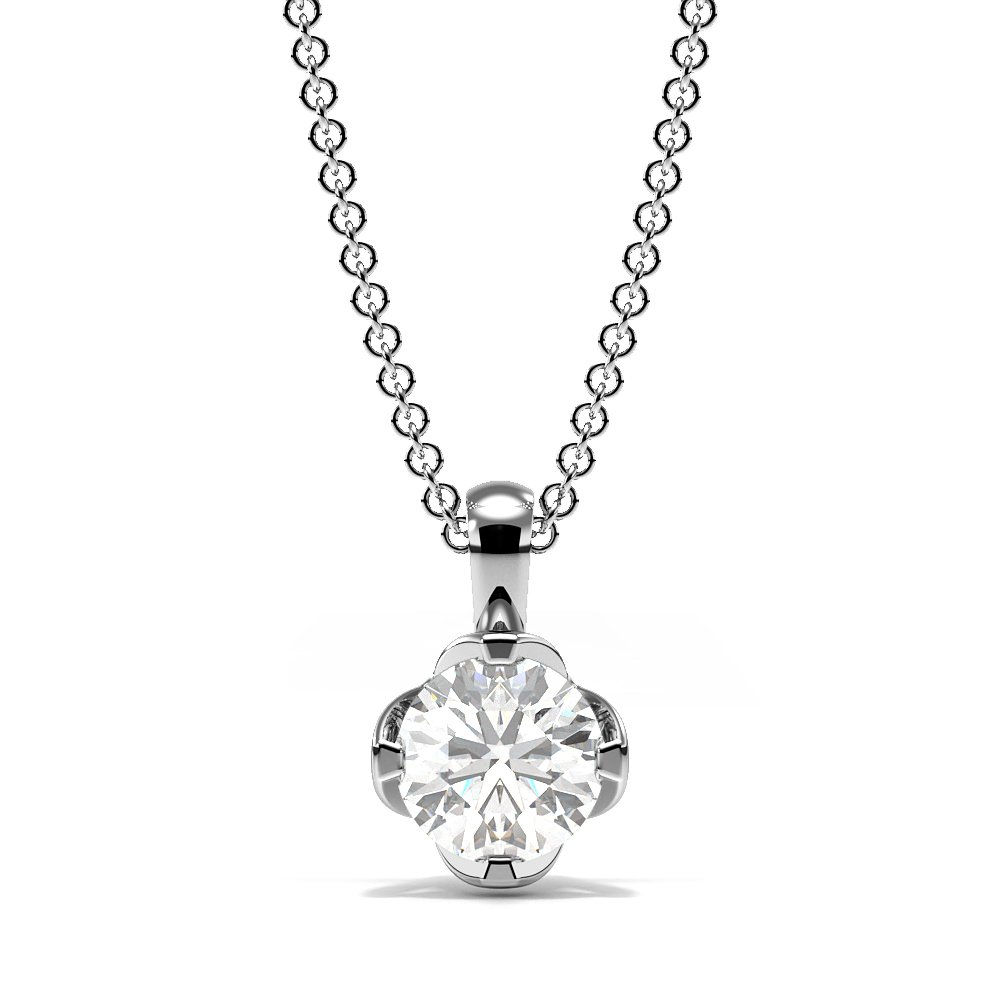4 Pring Setting Round Diamond Crown Style Solitaire Pendant Necklace