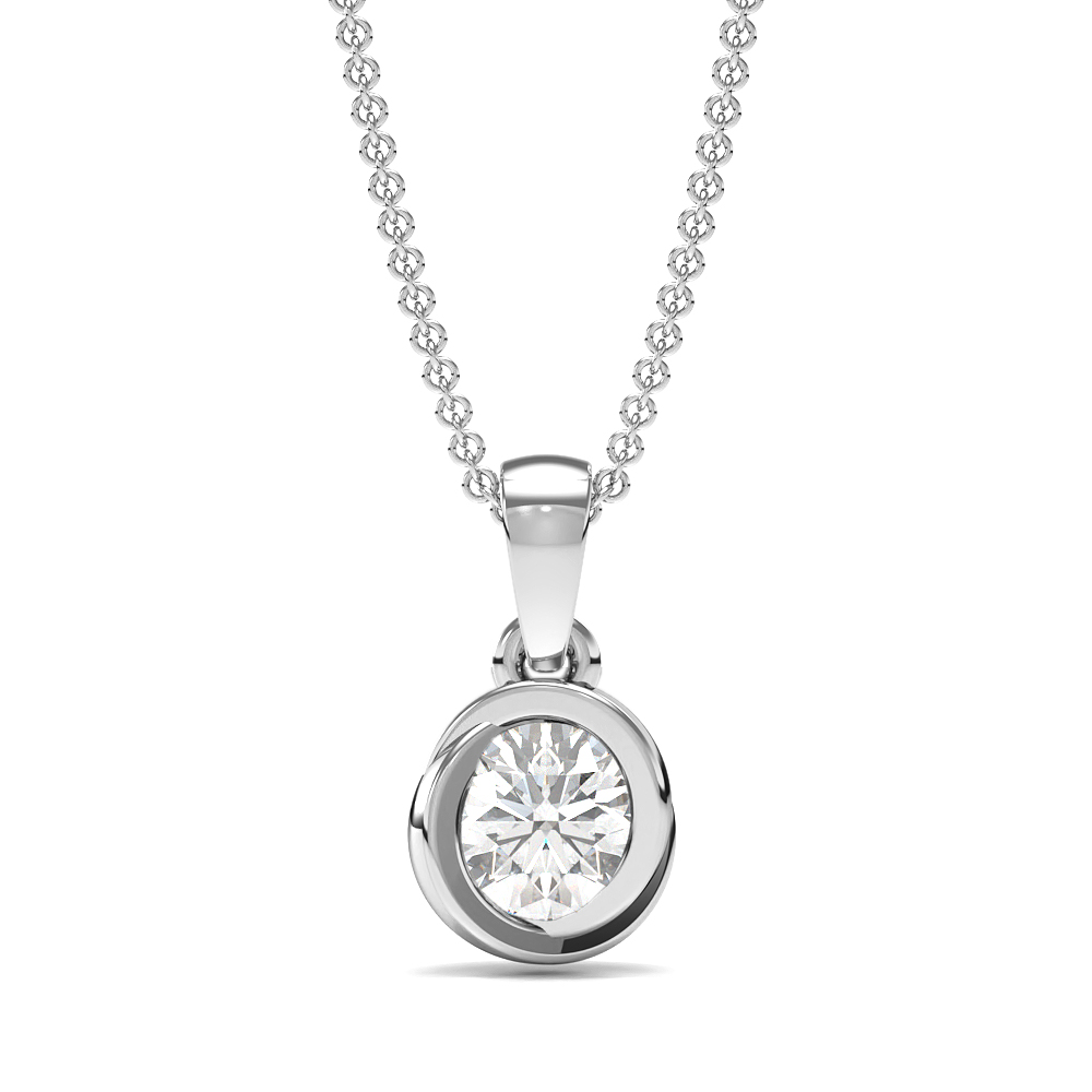 Tension Set Round Diamond Solitaire Diamond Pendants Necklace