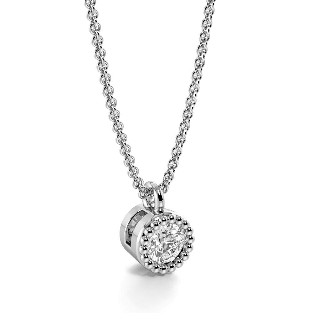 Bezel Setting Round Diamond Vintage Style Solitaire Pendant Necklace