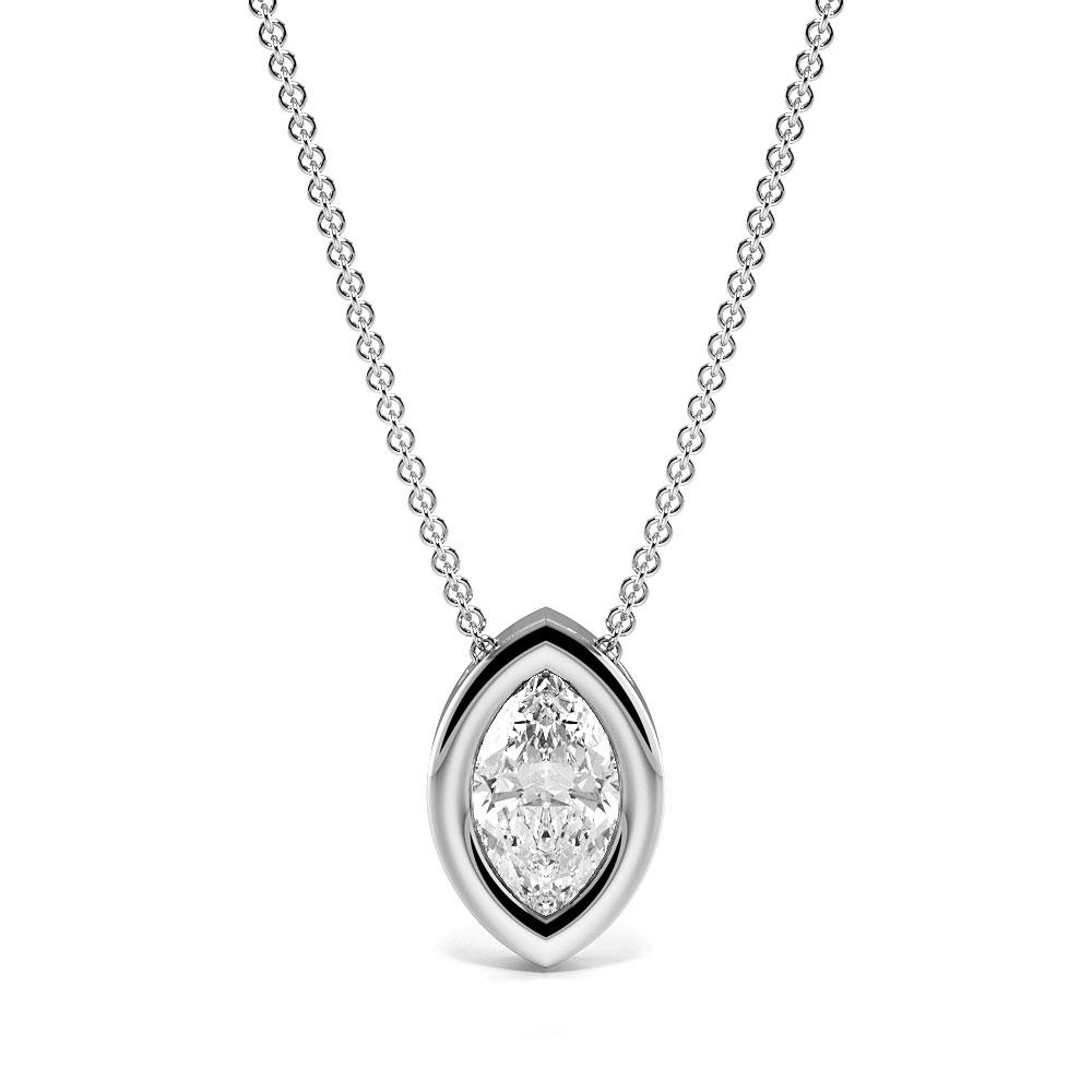 Bezel Setting Marquise Diamond Floating Solitaire Pendant Necklace