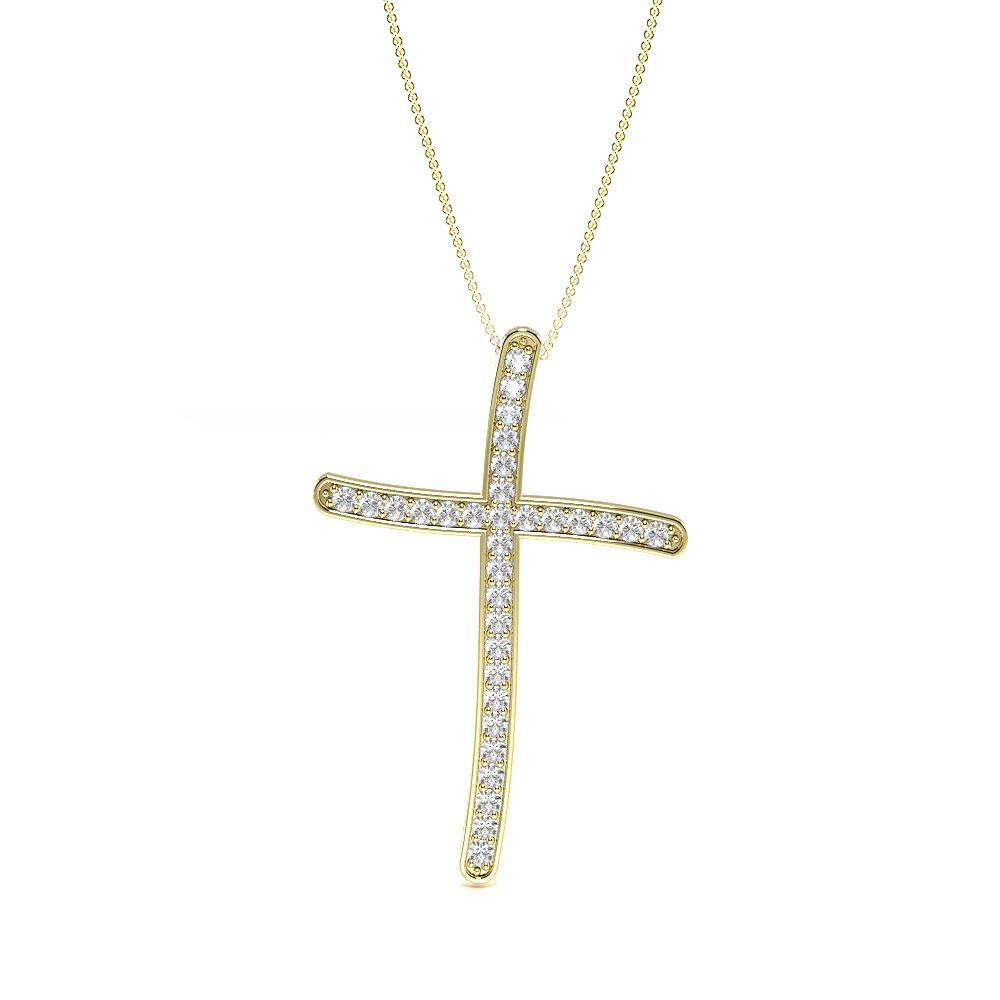 Pave Setting Round Diamond Delicate Cross Pendants  (28.30mm X 19.00mm)