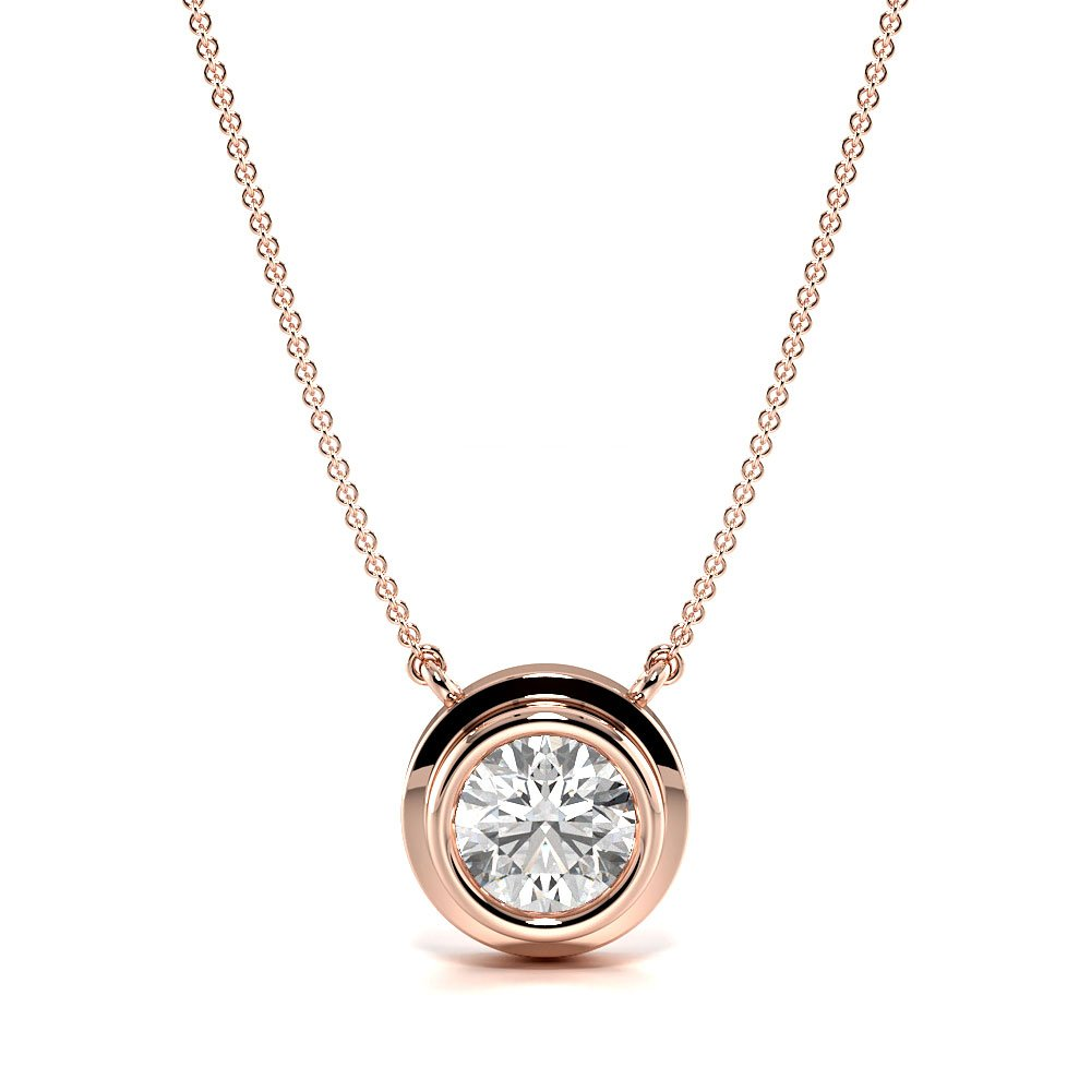 Bezel Setting Round Diamond Rub Over Solitaire Pendant Necklace