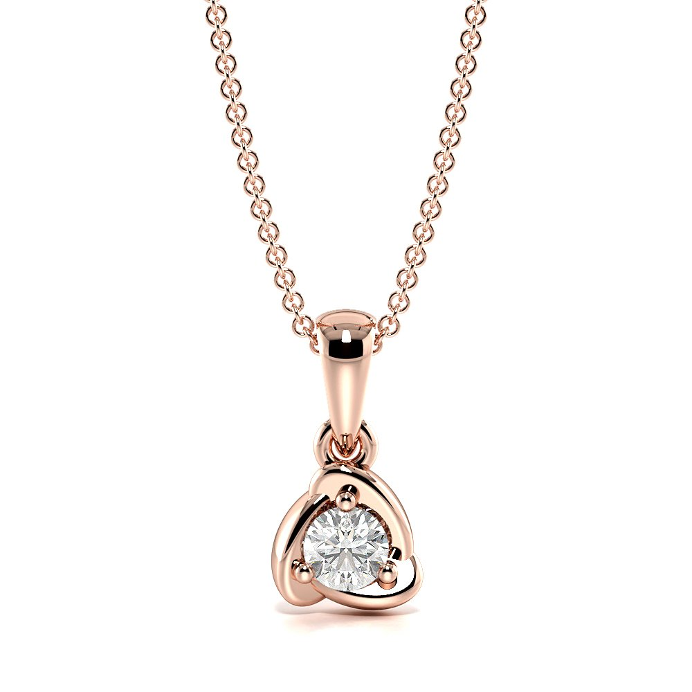 3 Prongs Dangling Solid Single diamond solitaire necklace (10.00mm X 5.00mm)