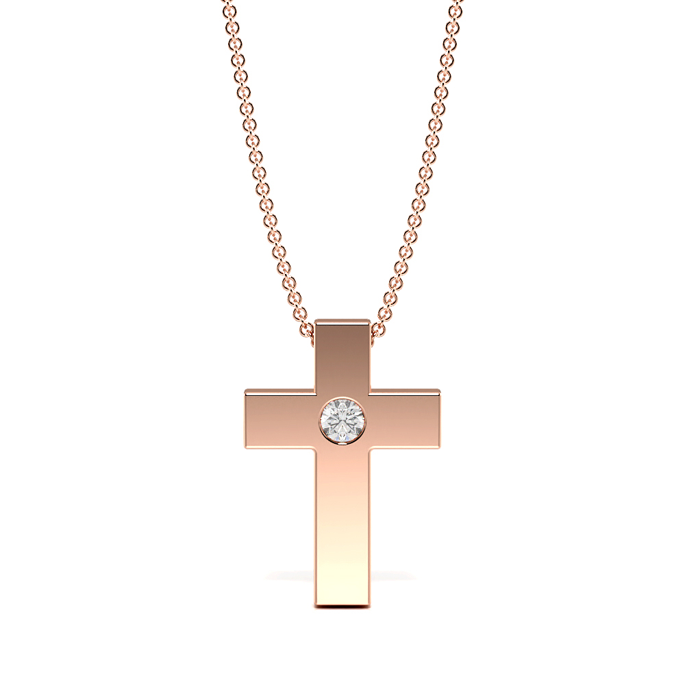 Flush Set Minimalist Single Diamond Cross Pendant Necklace (14.90mm X 10.30mm)