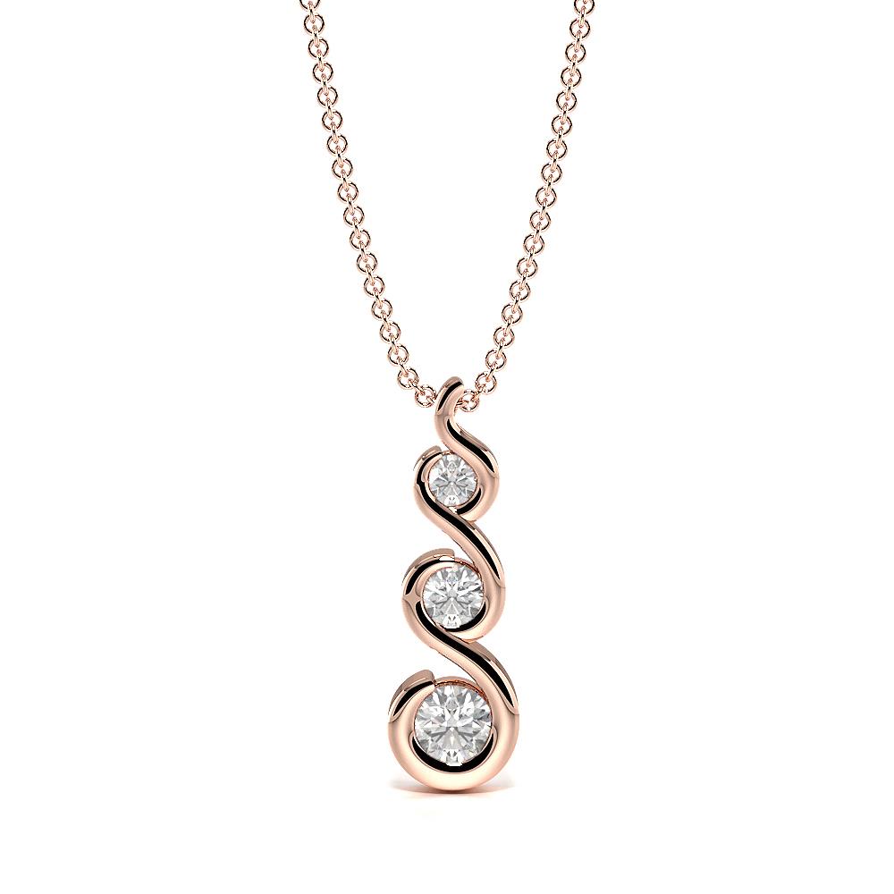 Bezel Set S-Link Journey Diamond Statement Necklaces (13.50mm X 4.00mm)